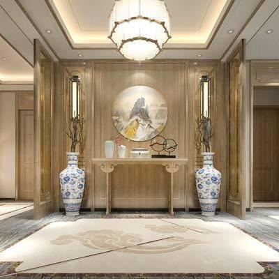 走廊, 吊灯, 壁画, 边几, 壁灯, 台灯, 花瓶, 中式