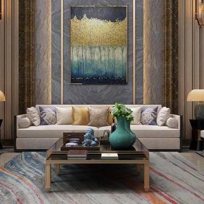 新中式客厅, 多人沙发, 壁画, 茶几, 椅子, 壁灯, 边几, 台灯, 新中式