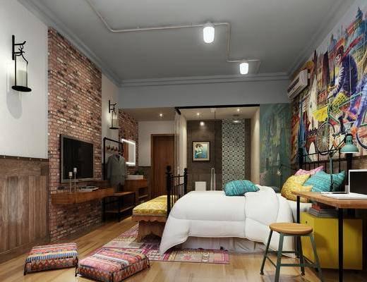 工业风公寓, 双人床, 壁画, 壁灯, 床尾塌, 桌子, 椅子, 吊灯, 工业风