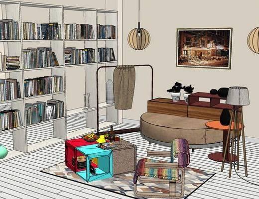 柜架组合, 书柜, 桌子, 椅子, 吊灯, 壁画, 落地灯, 地毯, 现代