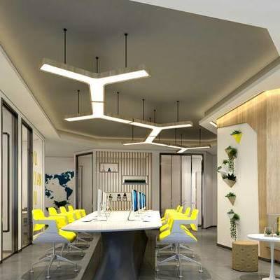 现代办公室, 吊灯, 沙发茶几组合, 壁画, 办公桌, 办公椅, 储物柜, 沙发凳, 现代