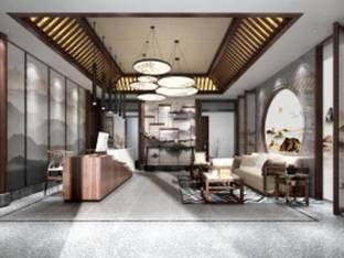新中式酒店前台接待3D模型