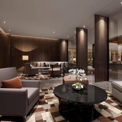 会客区, 落地灯, 多人沙发, 茶几, 椅子, 凳子, 壁画, 现代