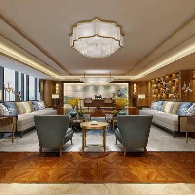 中式办公室, 吊灯, 壁画, 桌子, 椅子, 边几, 台灯, 多人沙发, 置物柜, 中式