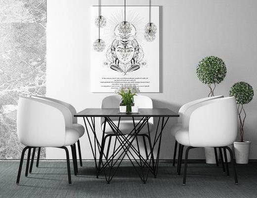 桌椅组合, 椅子, 桌子, 壁画, 盆栽, 现代