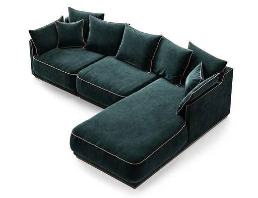 现代简约, 绿色, 沙发, 多人沙发, 现代沙发