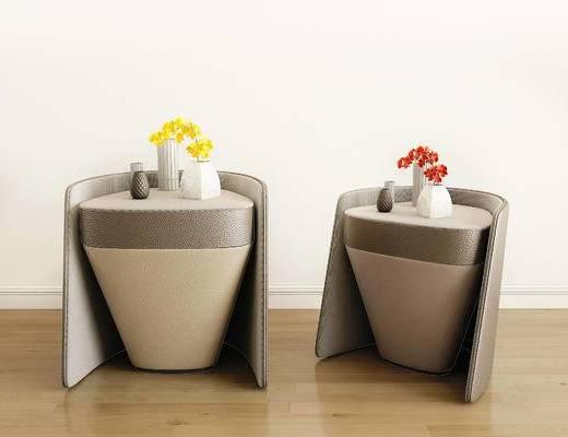 摆件组合, 花卉, 花瓶, 边几, 现代