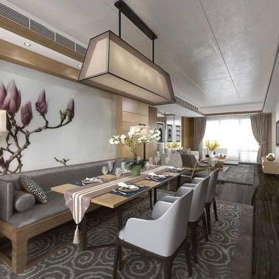 新中式客厅, 吊灯, 桌子, 椅子, 壁画, 台灯, 边几, 多人沙发, 电视柜, 地毯, 新中式
