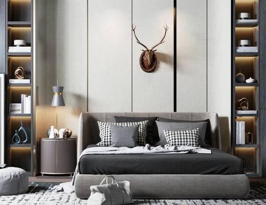 床具组合, 摆件组合, 置物柜, 吊灯, 装饰画