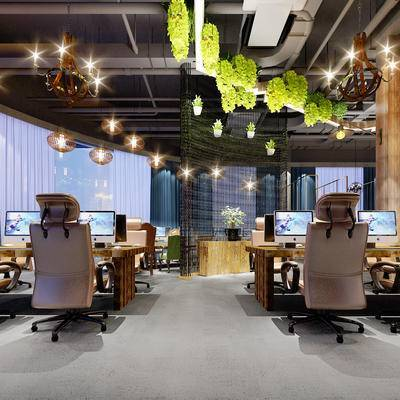 网吧, 桌子, 椅子, 吊灯, 盆栽, 现代