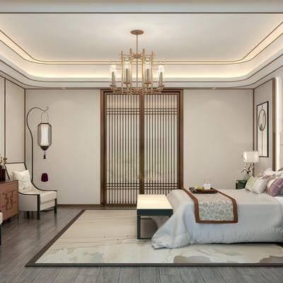 现代卧室, 吊灯, 双人床, 床尾塌, 床头柜, 台灯, 落地灯, 单人沙发, 壁画, 边柜, 地毯, 现代