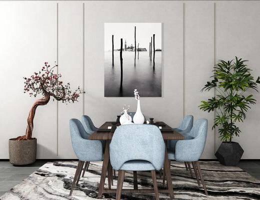 桌椅组合, 桌子, 椅子, 花瓶, 壁画, 盆栽, 新中式