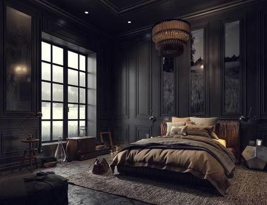 床具组合, 双人床, 壁画, 吊灯, 边几, 壁灯, 新古典