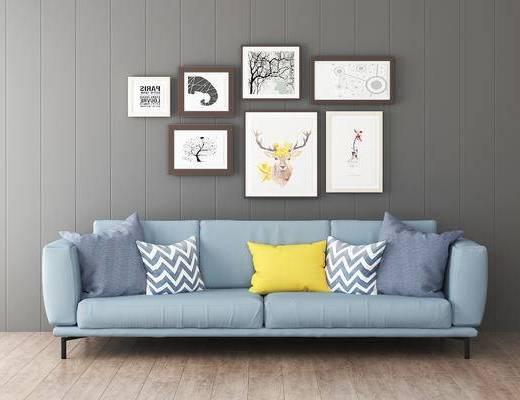 沙发组合, 双人沙发, 挂画, 北欧