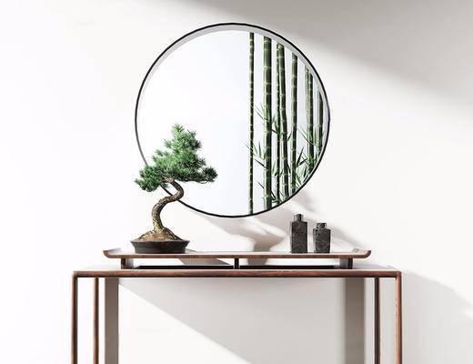 中式, 植物盆栽, 案几