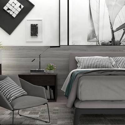 床具组合, 双人床, 壁画, 床头柜, 边几, 椅子, 盆栽, 现代