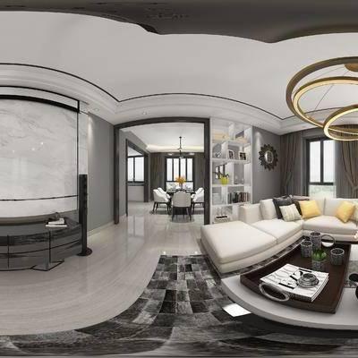 后现代客厅, 吊灯, 后现代沙发茶几组合, 桌椅组合, 边几, 沙发单椅, 储物柜, 电视柜, 地毯, 后现代