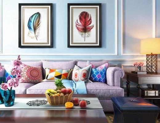 东南亚, 沙发茶几组合, 水果, 挂画, 台灯