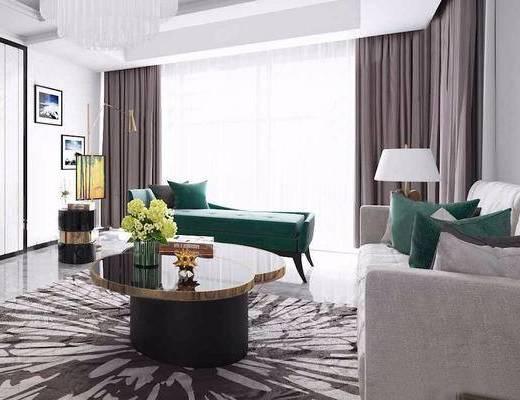 现代简约, 客厅, 沙发茶几组合, 台灯, 陈设品组合