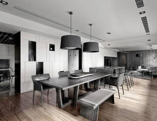 后现代客餐厅, 吊灯, 桌子, 椅子, 多人沙发, 落地灯, 茶几, 后现代