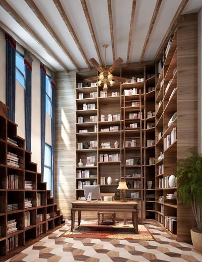 中式书房, 桌子, 椅子, 置物柜, 台灯, 盆栽, 中式