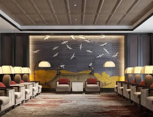 会客厅, 壁画, 椅子, 台灯, 落地灯, 新中式