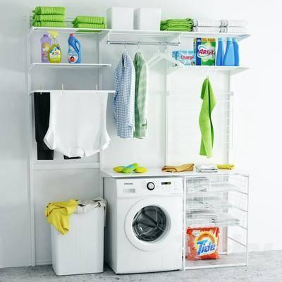 卫浴, 洗衣机, 毛巾, 置物架, 衣服, 洗涤用品, 洗浴用品
