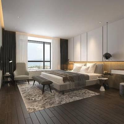 现代简约卧室, 床, 吊灯, 边几, 现代梳妆台, 床尾塌, 沙发凳, 沙发单椅, 飘窗, 台灯, 地毯, 现代简约
