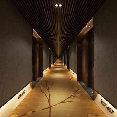 走廊过道, 壁灯, 地毯, 新中式