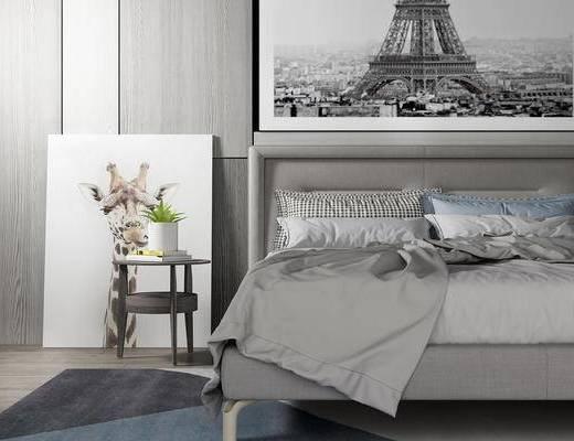 床具组合, 双人床, 壁画, 边几, 现代