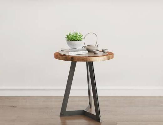 摆件组合, 茶几, 茶具, 盆栽, 现代