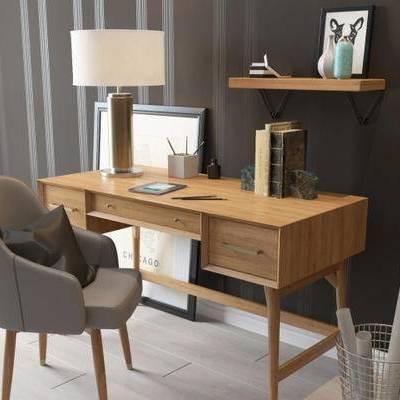 北欧, 书桌, 单椅, 台灯, 书籍, 置物架, 垃圾桶