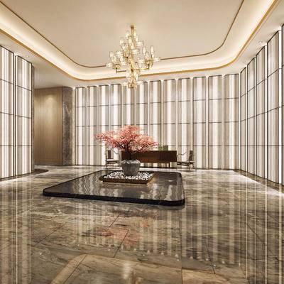 新中式, 酒店, 过道, 椅子, 花瓶