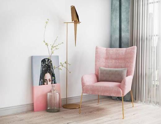 单椅, 落地灯, 装饰画, 北欧