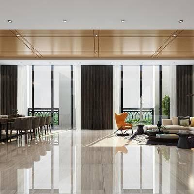会客区, 壁画, 椅子, 边几, 茶几, 多人沙发, 桌子, 落地灯, 现代