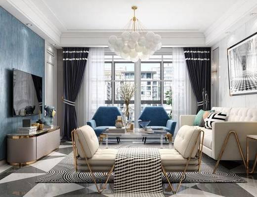 简欧客厅, 客厅, 沙发组合