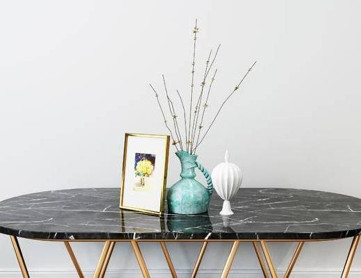 摆件组合, 花瓶, 花卉, 陶瓷器皿, 现代
