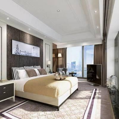 客房, 双人床, 床头柜, 壁灯, 壁画, 椅子, 现代