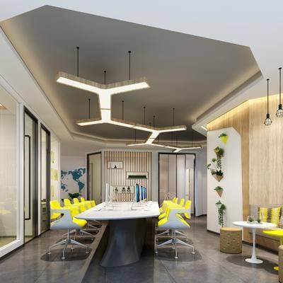 现代办公室, 多人沙发, 茶几, 吊灯, 壁画, 桌子, 椅子, 现代