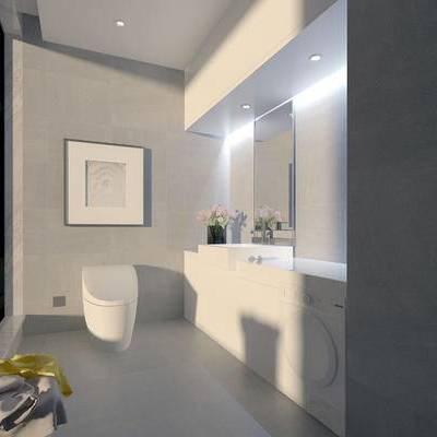 卫浴, 洗手台, 马桶, 壁画, 镜子, 现代