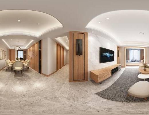 现代客餐厅, 多人沙发, 茶几, 椅子, 桌子, 电视柜, 壁画, 现代