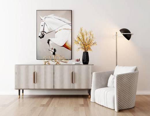 沙发组合, 单人沙发, 装饰柜, 壁画, 花瓶, 落地灯, 现代