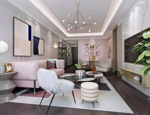 北欧简约, 客厅, 沙发茶几组合, 吊灯, 陈设品组合