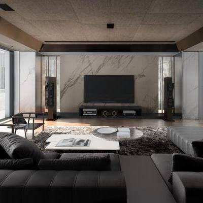 現代客廳, 沙發茶幾組合, 單人椅子, 電視柜, 地毯, 壁畫, 音響, 現代