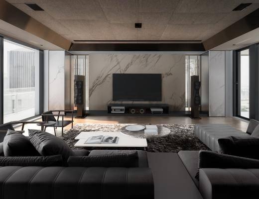 现代客厅, 沙发茶几组合, 单人椅子, 电视柜, 地毯, 壁画, 音响, 现代