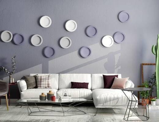 沙发组合, 多人沙发, 壁画, 边几, 椅子, 盆栽, 北欧