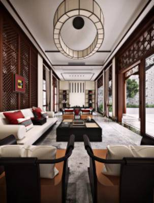 中式庭院客厅, 沙发茶几组合, 茶几, 吊灯, 多人沙发, 储物架, 中式