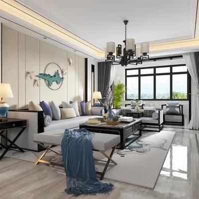 新中式, 新中式客厅, 客厅, 餐厅, 中式餐桌椅, 中式装饰柜, 中式沙发, 中式吊灯