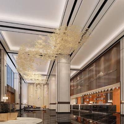 新中式, 大堂, 吊灯, 前台, 壁灯, 沙发, 茶几, 1000套空间酷赠送模型