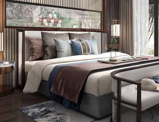 新中式, 卧室, 床, 壁灯, 装饰画, 沙发, 盆栽